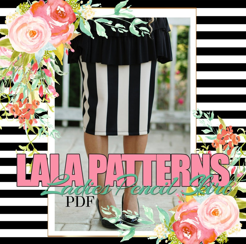 LALA Ladies Pencil Skirt PDF Sewing Pattern Digital Modest image 0