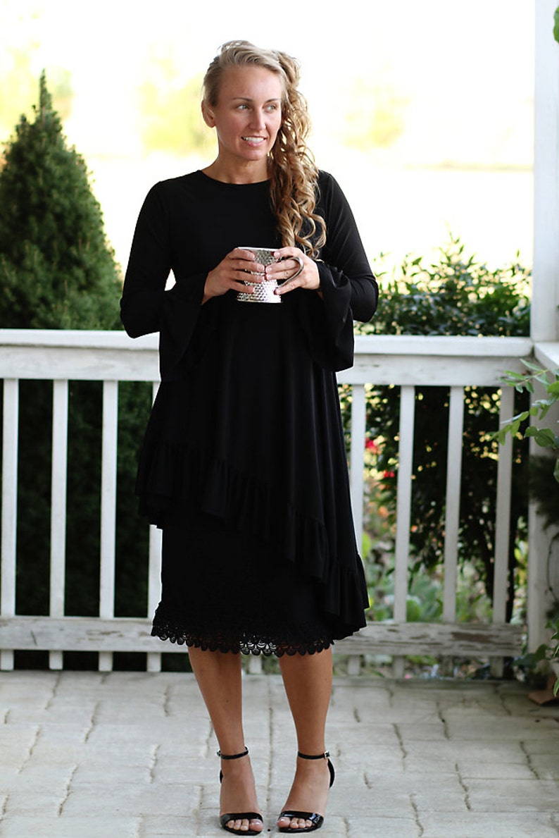 LillyAnnaLadiesApparel Noir KATE Black Shirt Lala Modest image 0