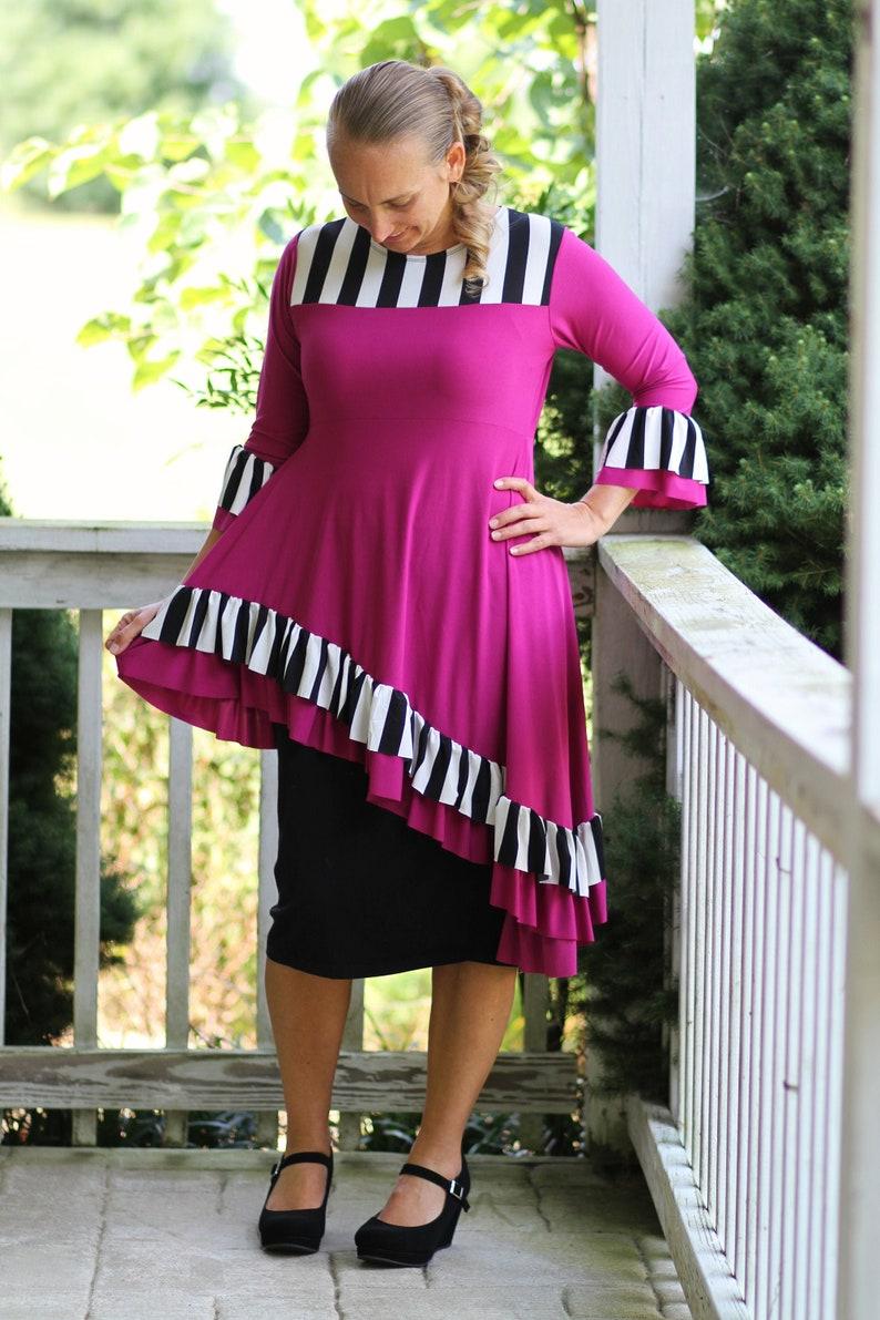 LillyAnnaKids Ladies DANIELLE Peplum Striped Shirt top LALA image 0