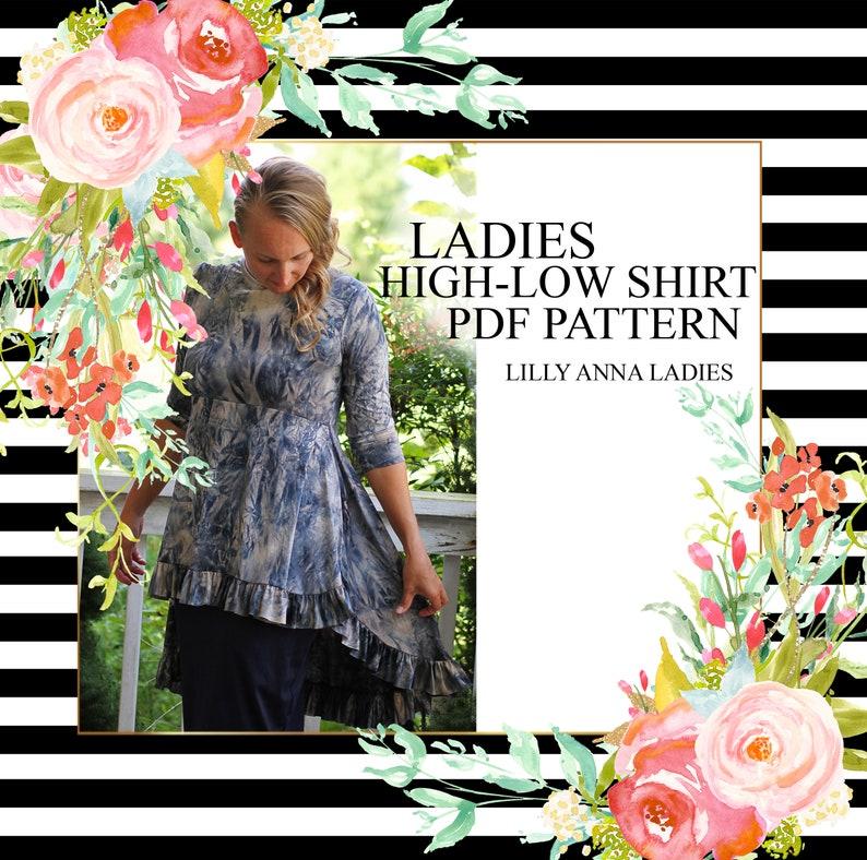 LALA LillyAnnaLadies High Low Ruffle Shirt PDF Sewing Pattern image 0