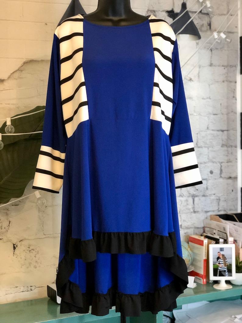 LillyAnnaKids Ladies Royal Striped Shirt top LALA Size 2X image 0