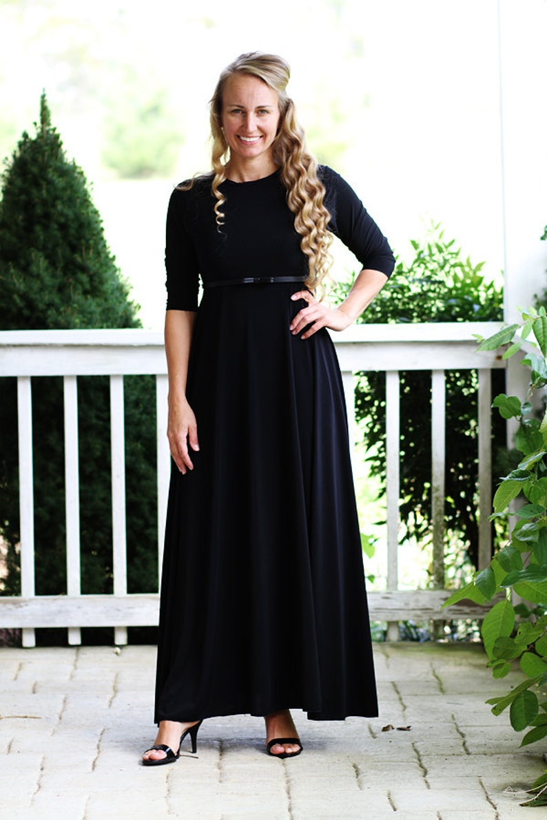 LillyAnnaLadies Noir GRACE Black  Dress LALA Modest image 0
