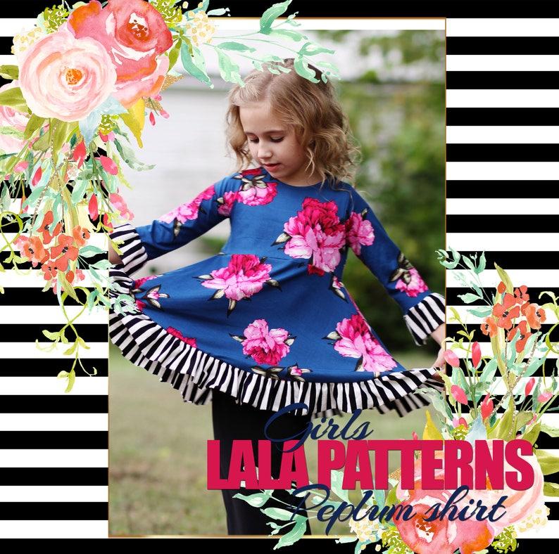 LALA Girls Natalie Peplum Shirt PDF Sewing Pattern Digital image 0