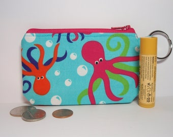 Pink Octopus Zipper Pouch Small Coin Purse or Dice Bag