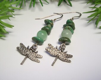 Dragonfly Earrings with Genuine Turquoise and Amazonite Gemstone Beaded Sterling Silver Earrings
