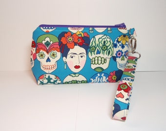 Frida and Calaveras on Blue - Small Padded Wristlet Purse Zipper Pouch