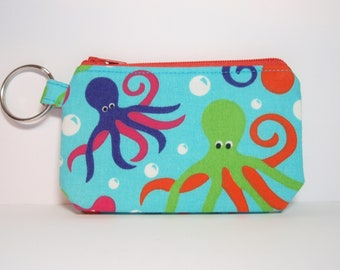 Orange and Green Octopus Zipper Pouch Small Coin Purse or Dice Bag