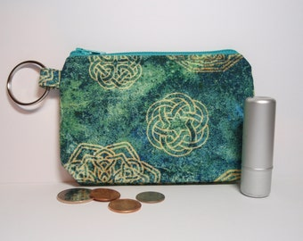 Celtic Knots Blue Green with Blue Lining Zipper Pouch Small Coin Purse or Dice Bag