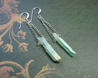 Pale Green Raw Quartz Crystal Point Earrings Sterling Silver Ear Wires