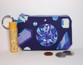 Blue Gems and Crystals Zipper Pouch - Small Coin Purse or Dice Bag