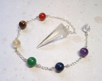 Clear Quartz and Chakra Gemstones Dowsing Divination Pendulum