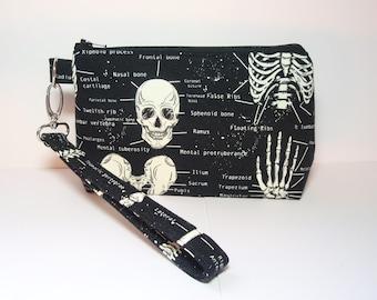 Glow in the Dark Skeletal Anatomy - Small Padded Cotton Wristlet Purse Zipper Pouch