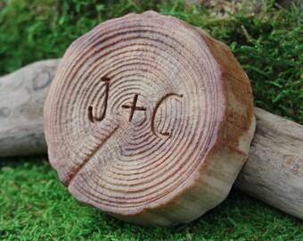Tree Stump oatmeal soap - warm cinnamon oatmeal - initials carved in a tree