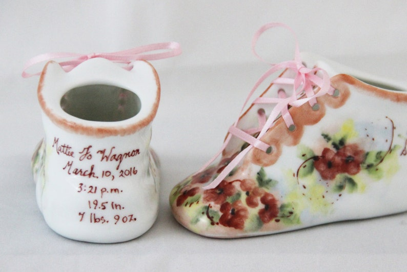 ae53cc686e580 Porcelain Baby Shoe - Personalized Baby Girl Bootie - 100% Hand Painted  Ceramic Baby Shoe Keepsake