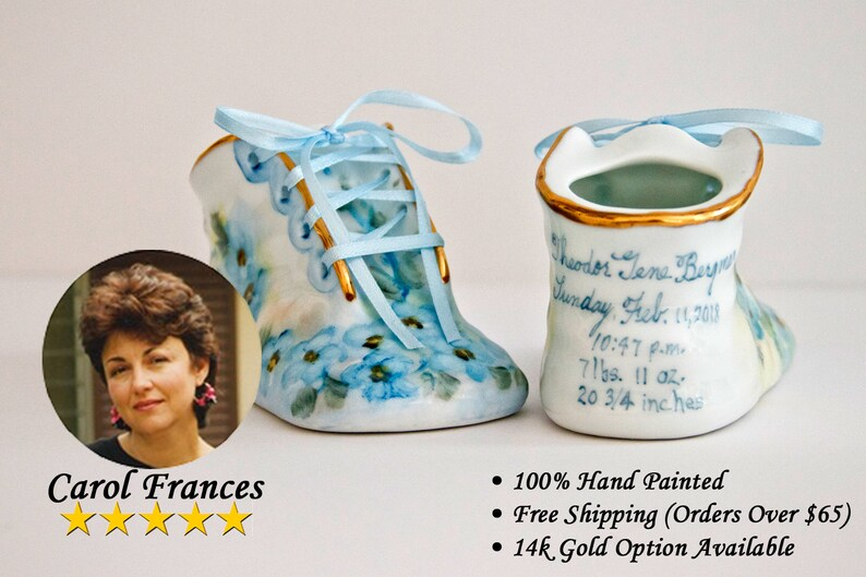 9e158a51455b1 Porcelain Baby Shoe - Personalized Baby Boy Bootie - 100% Hand Painted  Ceramic Baby Shoe Keepsake