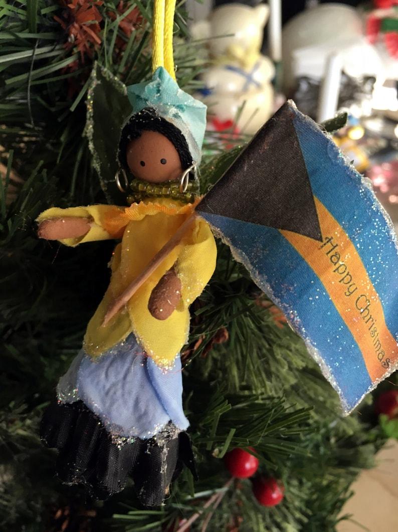 Christmas tree trim Native doll handcrafted holiday hostess gift Island Christmas The Bahamian Fairy Keepsake ornament cultural art doll