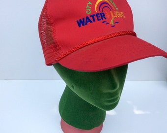 VTG Red Otto Hat    City of Columbia    Water Light    Hipster    Trucker  Hat    Otto Cap 8a494b0777a