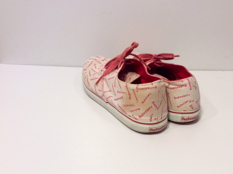 RARE Vintage Budweiser Tie Sneakers  Official Product  Canvas Sneakers  Beer  Brewery  Anheuser Busch  Size 7  Womens