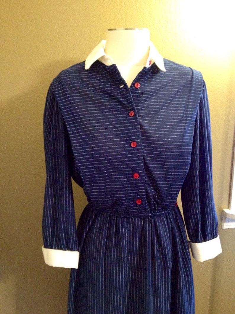 VTG Red White /& Blue Secretary Dress  Long Sleeved  Collared  Jamie  Size 16