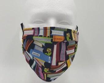 Handmade Facemask Book Worm Theme
