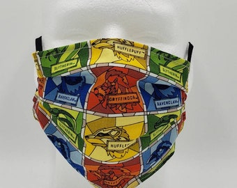Handmade Facemask Stained Glass Hogwarts Houses Theme