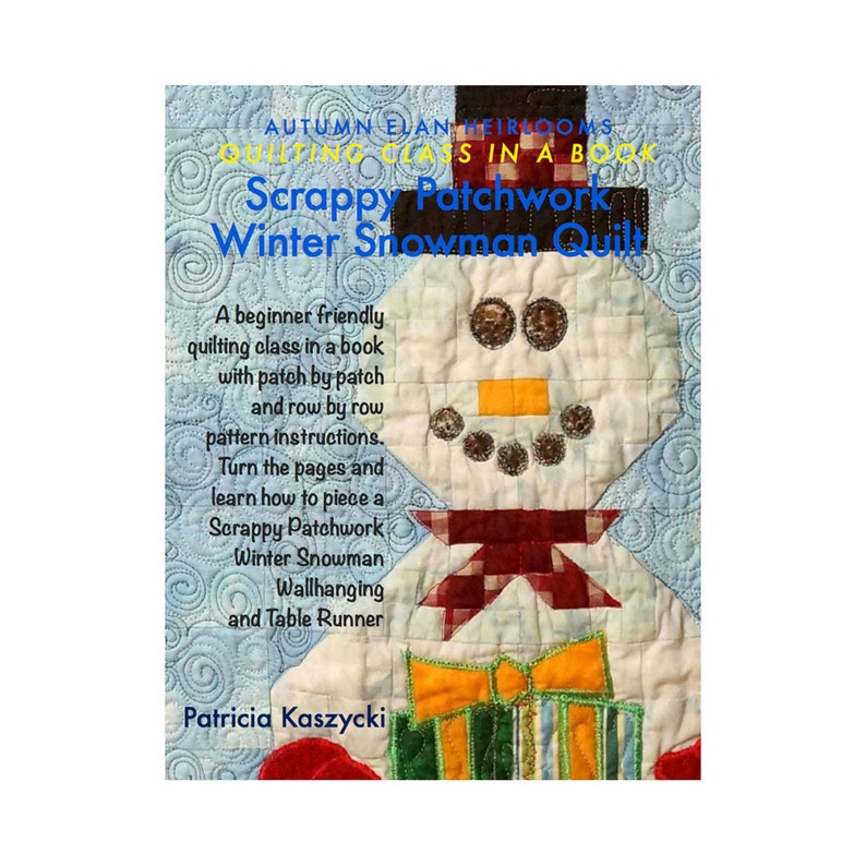 Quilt Pattern Scrappy Patchwork Winter Snowman Table Runner image 0