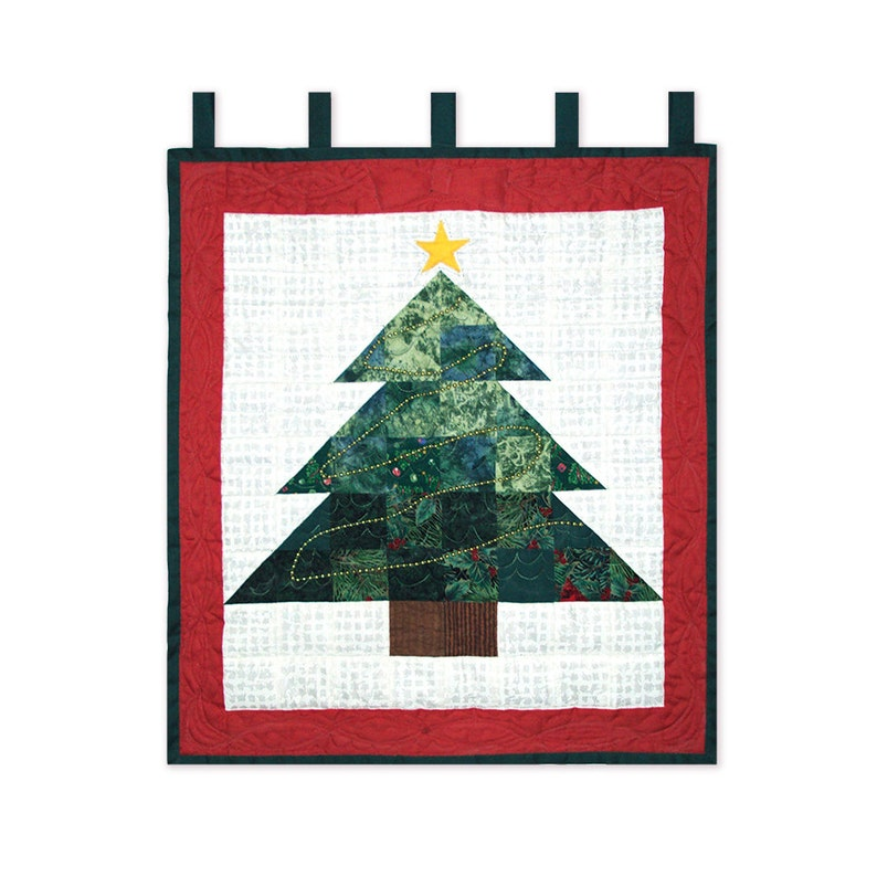 Quilt Pattern Scrappy Patchwork Christmas Tree Wall Hanging image 0