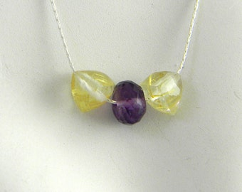 "Golden Rutilated Quartz and Amethyst Minimalist Understated Chic 17"" Sterling Delicate Silver necklace"