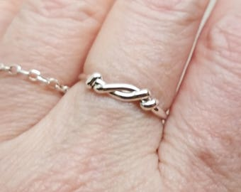 Knot an Ordinary Kind of Love Shibari Themed Sterling Silver Ring SZ 8.75