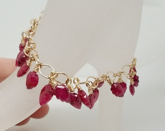"Genuine Carved Leaf Rubies on 14kt goldfilled chain with 14kt gold filled clasp 6 & 3/8ths "" For SMALL Wrist"