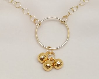 Discreet Slave Collar with Vermeil Chiming Bells, 14kt Gold Filled O, 14kt Gold Filled Chain, and 14kt Gold Filled Clasp