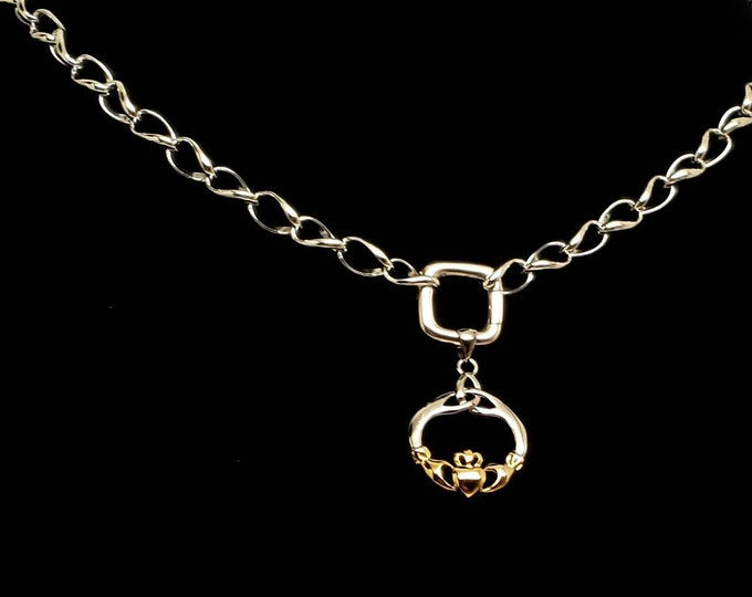 Featured listing image: Slave Collar 7.3mm Diamond Cut Twist Curb Chain with Square Spring Gate Clasp and Mixed Gold and Sterling Claddagh