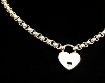 Heavy 6.4mm Hammered Sterling Silver Rolo Chain Slave Collar with Solid Sterling Silver Key Locking Heart Padlock