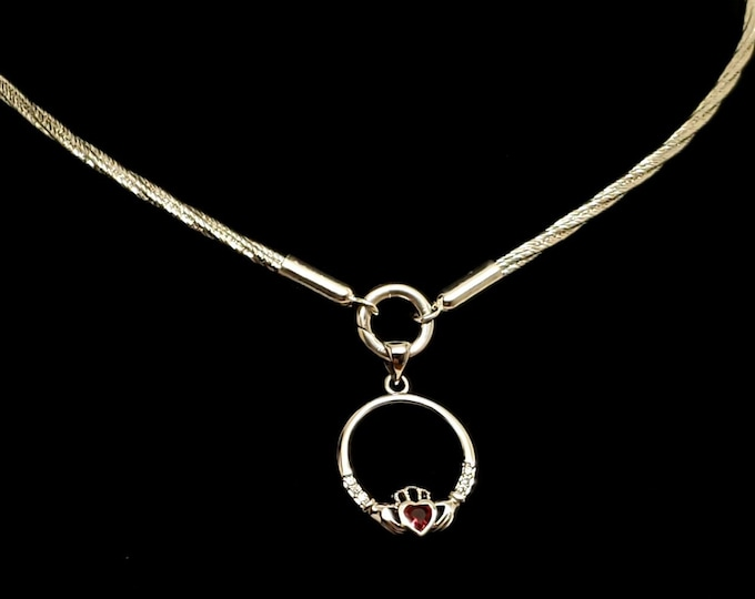 Featured listing image: Ultra Discreet Sterling Silver Slave Collar 3mm Diameter Twist Omega Chain with Sterling O clasp and CZ Claddagh Removable Pendant
