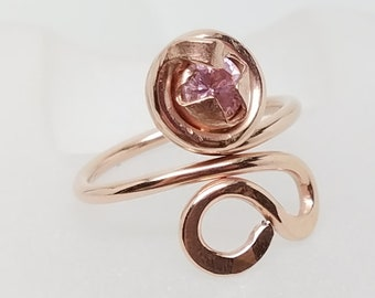 14kt  Rose Gold Fill Sculpted wire Cocktail Ring Adjustable 6.5 to 8