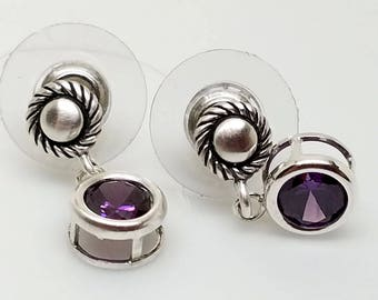 Classic Sterling Silver Button Studs with 6mm Amethyst CZ Drops and Wide Backed Ear Nuts Sterling Silver
