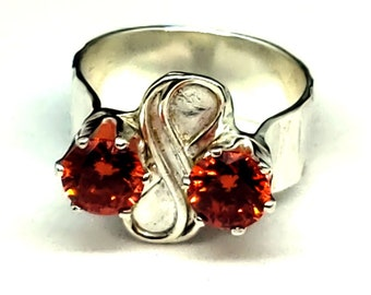 Hand Forged Ring, Infinity Symbol Flanked by two Mexican Fire Opal CZ stones all Sterling Silver One-Of-A-Kind 7mm shank