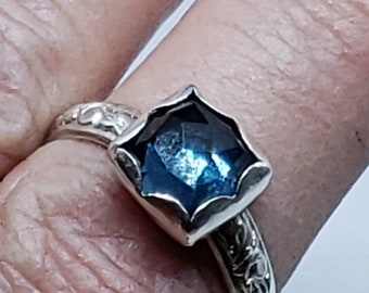 London Blue Topaz Solitaire Promise Ring Sterling