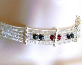 Discreet Slave Collar, Interweave Sterling Silver and Swarovski Elements Unique, for 13.75 inch neck