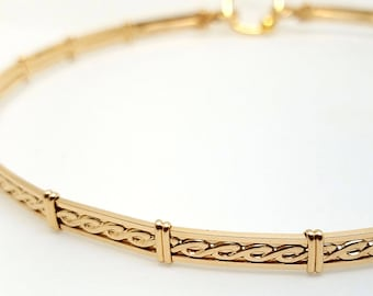 Ultra Discreet Rope Motif Slave Collar-14kt yellow Gold Filled - Tool for clasp not included (Made to Order)