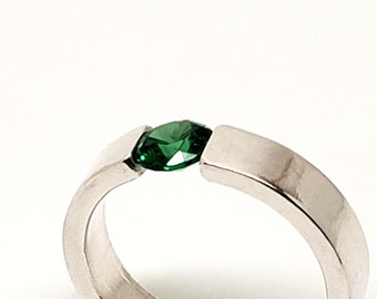 Emerald Cubic Zirconia in 4mm Heavy Sterling Silver Band, Tension Set Solitaire, Hand Forged