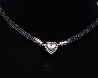 Discreet Slave Collar Hand Woven Rainbow Anodized Niobium With Sterling Decorative Ends & Stainless Steel CZ Heart Clasp.
