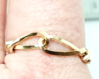 Knot an Ordinary Kind of Love Slip Knot Shibari Themed 14 kt Gold Filled Ring SZ 8.25