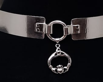 Irish Celtic Claddagh, Discreet Day Collar. Public BDSM, Slave Collar, Submissive Choker, Unisex Slave Gift, Wide Band Metal Sterling Silver