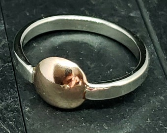 2.8 mm Sterling Silver with 14kt Rose Gold Dome Solitaire Accent Ring Hand Forged