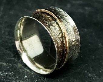 Half Inch Wide 8.75 Patterned and Antiqued Spinner Ring 925 Sterling Silver With 14kt Rose Gold Fill Hammered Spinner Hand Forged