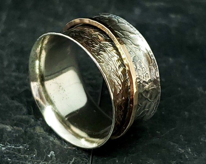 Featured listing image: Half Inch Wide 8.75 Patterned and Antiqued Spinner Ring 925 Sterling Silver With 14kt Rose Gold Fill Hammered Spinner Hand Forged