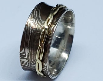 Mokume Gane Sterling Copper and Gold Filled 9 MM Hand Forged Rustic Look WIDE Band Spinner Ring