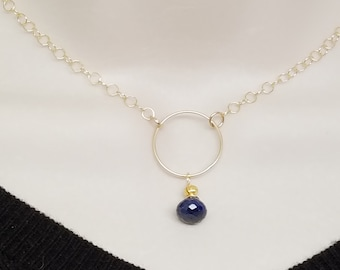 Sapphire and Ruby Gemstone Discreet O Chain Slave Day Collar 14kt Gold Filled, BDSM Choker, Slave Gift, Dark Blue, Bridal Collar, woman Gift