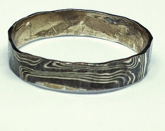 Mokume Gane Sterling & Copper 5 MM Hand Forged Rustic Look - Hammer Textured Band